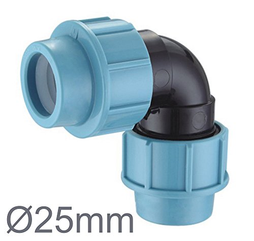 PP-Verbinder für 25 mm PE-Rohr Verschraubung Winkel Kupplung Endkappe Verbund Fitting Fittings Formteil (90° Winkel 25mm)