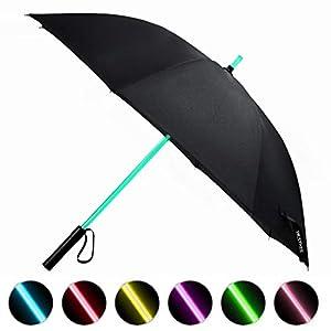 LED Regenschirm im Laserschwert-Design Schwarz Star Wars Schirm mit 7 Farben und Integrierter Taschenlampe