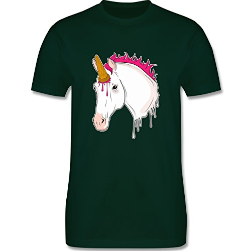 Einhörner - Einhorn mit Eis - Herren T-Shirt Rundhals Dunkelgrün