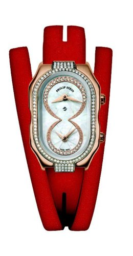 Philip Stein - 14DPRG-IDW-MRDW - Montre Femme - Quartz Analogique - Cadran Blanc - Bracelet Cuir Rouge