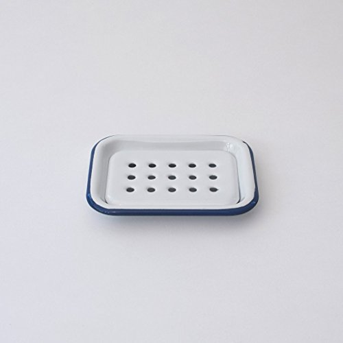 Münder-Email - Seifenschale, 2tlg. zum Stellen - weiß mit blauem Rand