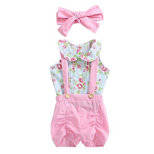 Toddler Baby Girls Kids Summer Clothes Outfits Mingfa Cute Sleeveless Floral Tops Ruffle Short Pants Headband 3pcs Set (Pink, 3T)