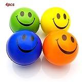 JRing 4Pcs Boules Anti-Stress Boucle Souriante Heureuse Boucle Gonflable Relaxante Jouet de Soulagement du Stress Jouet Couleur Aléatoire