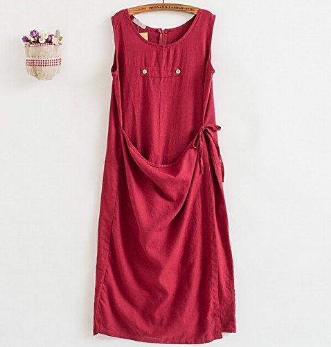 MatchLife Femme Sans Manche Robe Jumpsuit Pantalon Rouge