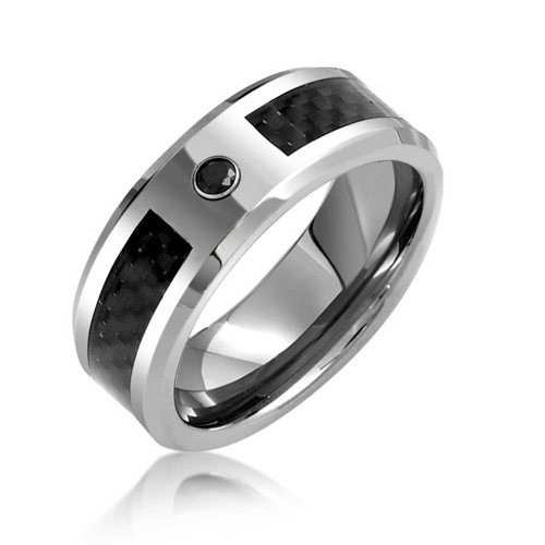 Bling Jewelry Mens Black Tungsten Wedding Band Ring Carbon Fiber Inlay 8Mm - Inlay Ring Black Onyx
