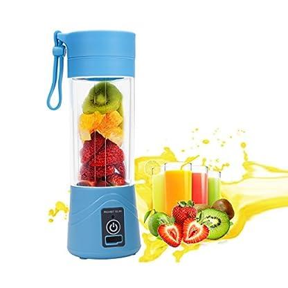 ieGeek-Mini-Mixer-Tragbare-Smoothie-Maker-Blender-Mobiler-Standmixer-mit-USB-Wiederaufladbar-Reise-Juicer-Sport-BPA-Frei-380ml-Blau