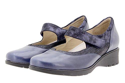 PieSanto Scarpe Donna Comfort Pelle 9957 Mary Jean Casual Comfort Larghezza Speciale Marino
