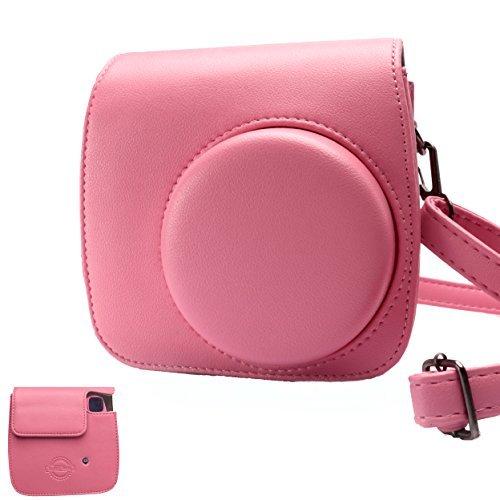HelloHelio klassisch Vintage PU Leder Instax Kamera Kompakt Tasche f¨¹r Fujifilm Instax Mini 9/8/8+ Sofortbildkamera (Flamingo Pink)