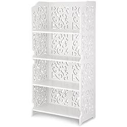 Finether weißes Regal Stehregal Standregal Steckregal im Barock Stil für Wohnzimmer Badezimmer zur Aufbewahrung von Dekoartikel Toilettenartikel aus WPC wasserdicht 4 Böden 40 x 22 x 80 cm weiß