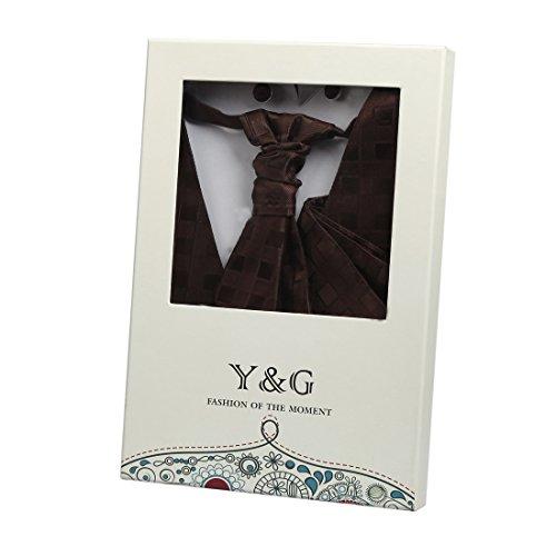 YGB1C01 classica a scacchi regalo perfetto Vest Gemelli fazzoletto plastron da Y&G colore marrone-VS2024