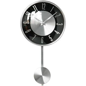 wall clock pendulum silver and black face modern design u0026 look