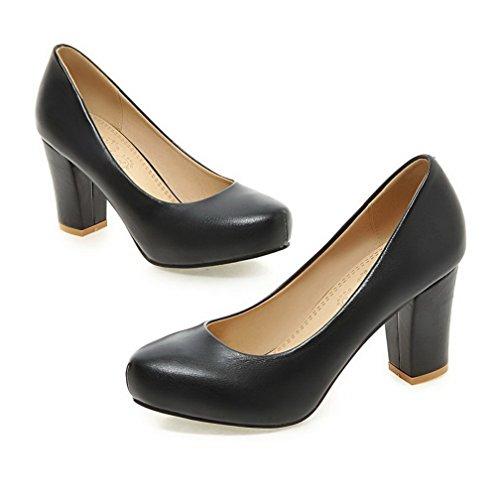 VogueZone009 Femme Matière Mélangee Tire Rond à Talon Haut Couleur Unie Chaussures Légeres Noir