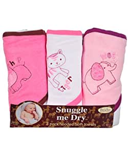 Wild Animal Hooded Bath Towel Set, 3 Pack, Girl, 76 x 71 cm, Frenchie Mini Couture