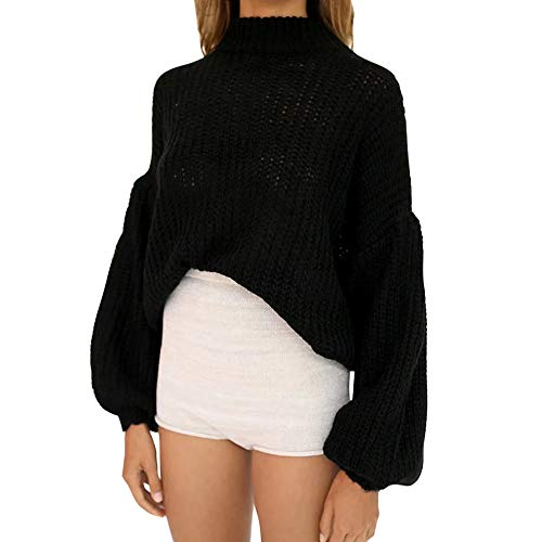 Keepwin Frauen Winter High Neck Pullover Mode Laterne Langarm Solid Knit Tops Bluse (One Size, Schwarz) -