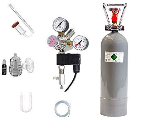 Hiwi CO2 Anlage 2000 Profi Deluxe Magnetvetil Nachtabschaltung, Acrylglas Komponenten, Druckminderer (Made in Germany), 2 KG CO2 Mehrwegflasche, gefüllt, NEU -