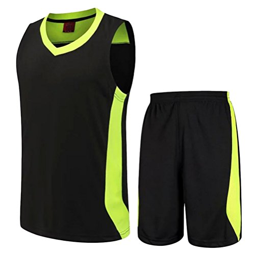 Zhuhaitf Alta qualità Comfortable Mens Casual Loose Breathable Basketball Sports Wear Suit Black&Fluorescent green