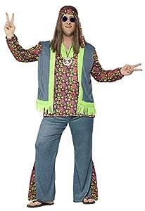 Smiffys Disfraz de Hippie con Curvas,, Parte de Arriba, Chaleco pegad