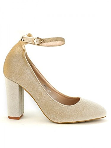 Cendriyon, Escarpin velours Beige BELLE WOMEN Chaussures Femme Beige