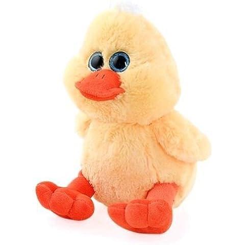 Pato de peluche con ojos de cristal. Grande, 28 cms.