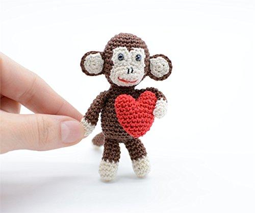 Plüsch Affe mit rotem Herz, braun häkeln Spielzeug, freches Geschenk (Selbstgemachte Stofftiere)