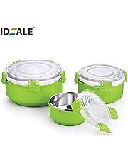 Ideale Flora Lock Look Microwave Safe 3 Bowls Set Green