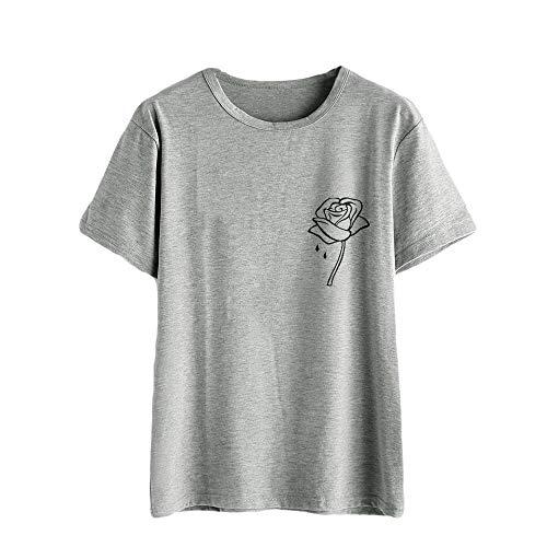 TOPKEAL Camisas Mujer Manga Corta Dibujos Animados Rosa Estampado De Flores El Verano Blusas Mujeres Tank Crop Tops Chaleco Camisetas (Gris, M)