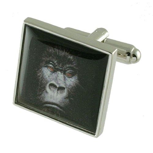 Scimmie-Gemelli da uomo in argento Sterling 925 solido-Gemelli con incisione personalizzata, incisione