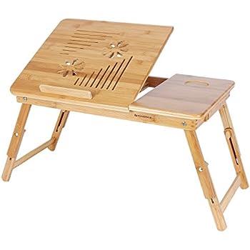 SONGMICS Höhenverstellbarer Laptoptisch mit Lüftungslöcher, klappbarer Betttisch mit Schublade, Notebooktisch für Sofa, 55 x (21-29) x 35 cm (B x H x T) LLD002