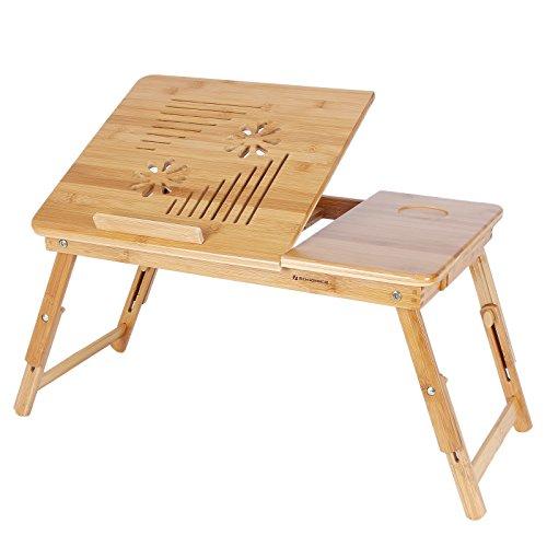 SONGMICS Höhenverstellbarer Laptoptisch mit Lüftungslöcher, klappbarer Betttisch mit Schublade, Notebooktisch für Sofa, 55 x (21-29) x 35 cm (B x...