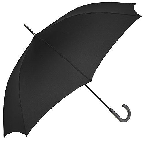 Paraguas Hombre Golf largo Perletti Technology - Antiviento, Ultra Resistente y Grande - Tela monocolor con tratamiento TEFLON - 120 cm de diámetro - Apertura automática - Negro