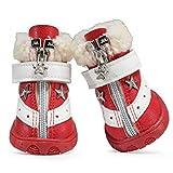 Feidaeu Pet Schuhe Anti-Rutsch-helle und Bequeme warme Winterlederstiefel für niedliche Hunde