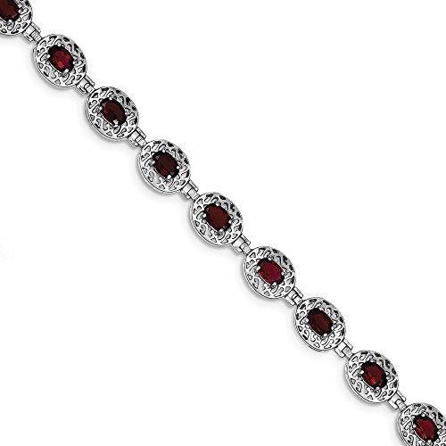 Diamond2Deal Damen 925Sterling Silber rhodiniert Granat Filigran Armband