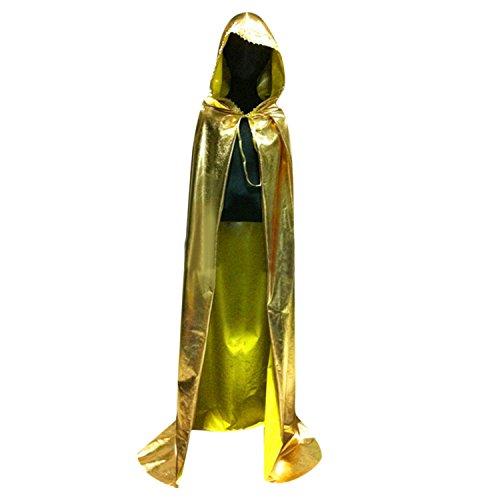 Damen Herren Umhang Kostüm Cape mit Kapuze für Halloween Gold WO 2280 GD M (Damen Halloween Capes Für)
