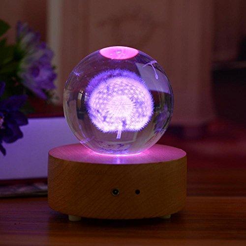 Fernbedienung Bluetooth Holz Musik Box Lautsprecher Wireless mit LEDs Licht-Kristall Kugel (Löwenzahn Muster) Geburtstag Geschenk