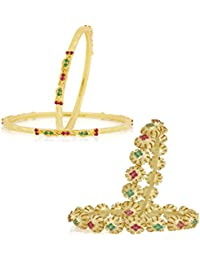 VK Jewels Gold And Rhodium Plated Alloy Bangles Set Combo For Women & Girls Made With Cubic Zirconia - COMBO1452G...