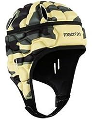 Macron - Casco de protección de estilo militar para fútbol y rugby, negro, XS-S