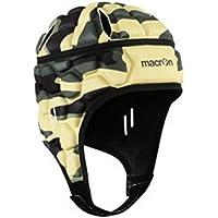 Macron - Casco de protección de estilo militar para fútbol y rugby, negro, M/L