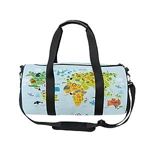 jstel mapa del mundo con animales bolsa de deporte gimnasio para hombres y mujeres bolsa de viaje de viaje