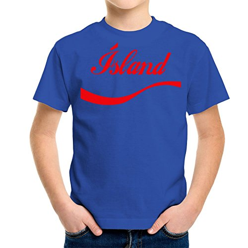 Euro 2016 Football Iceland Island Wave Blue Kid's T-Sh