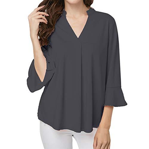 Innerternet Women Blouse V-Neck Solid Plus Size Lotus leaf sleeve Blouse Easy Top Tunic Shirt