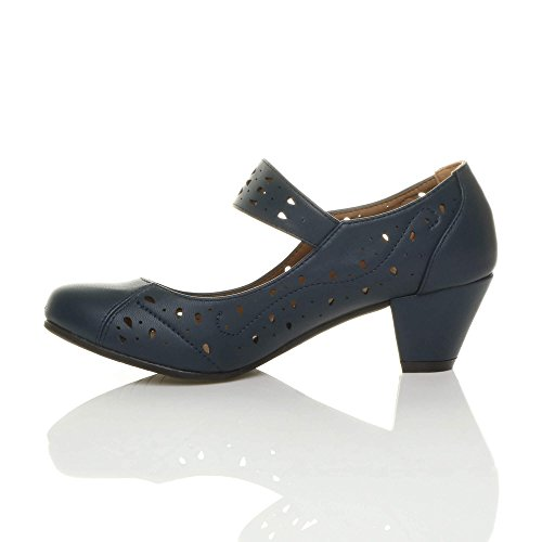 Donna tacco medio mary jane ritagliare francesine décolleté scarpette taglia Blu scuro opaco