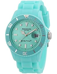 Madison New York - SU4167PV - Montre Mixte - Quartz Analogique - Cadran Vert - Bracelet Silicone Vert