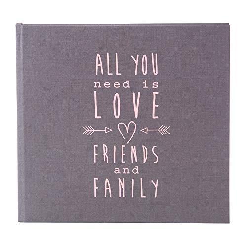 Goldbuch Hochzeitsgästebuch mit Lesezeichen, All you need is love, 23 x 25 cm, 176 chamoisfarbene Blankoseiten, Einband aus Strukturpapier in Leinenoptik, Grau, 50085