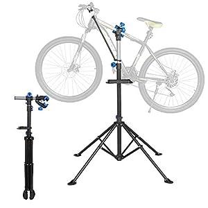 41ko alBIkL. SS300 Yaheetech Cavalletto per Manutenzione Bici Pieghevole Supporto Riparazione Bici Universale Staffa con Bastone Ferma…