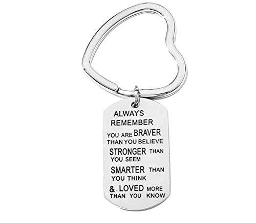 Anyeda Schlüsselanhänger Herren Damen Edelstahl Gravur Always Remember You Are Braver 1 Schlüsselanhänger Silber Style B 4X2.4Cm -