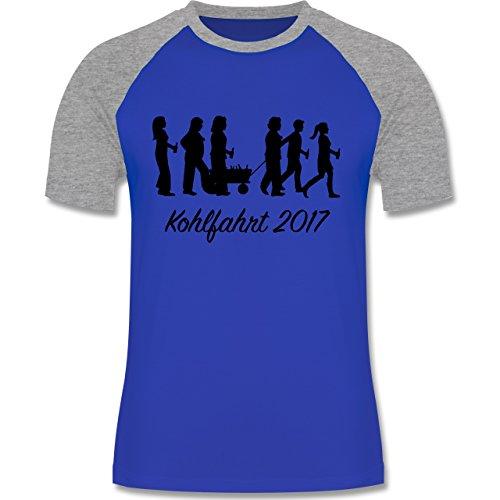 Anlässe - Kohlfahrt 2017 - zweifarbiges Baseballshirt für Männer Royalblau/Grau meliert