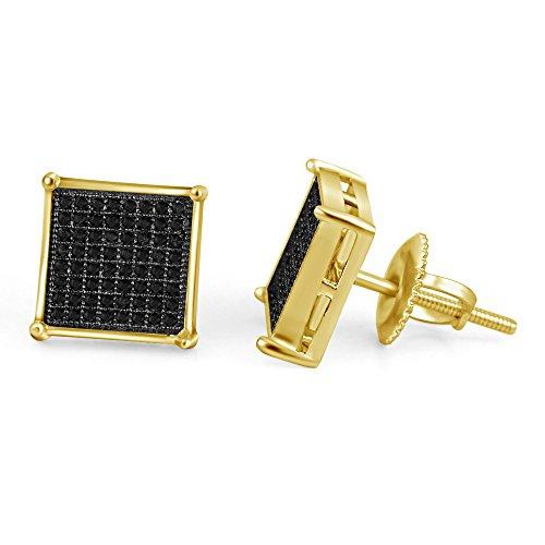 lilu Bijoux Glamour Coupe ronde Diamant Véritable Noir Argent 925Boucles d'oreilles clous Femme-Carré-Argent 925/1000 14K GOLD PLATED