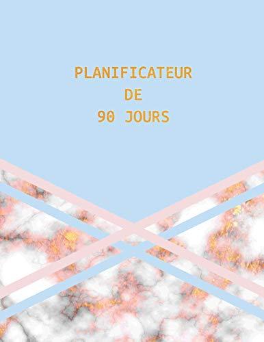 Planificateur de 90 Jours: Design Marbre Or Rose Bleu   Agenda de 3 Mois avec Calendrier 2019   Planificateur quotidien   13 Semaines