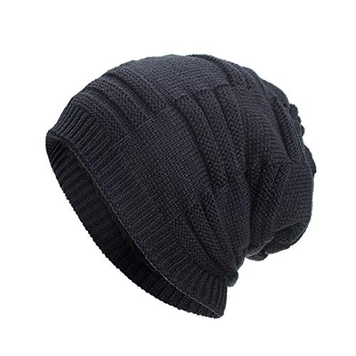 Ouneed Strickmützen Damen Winter,Women Men Warm Baggy Weave Crochet Winter Wool Knit Ski Beanie Skull Caps Hat (Marine) Crochet Knit Beanie Skull Cap