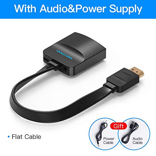 HDMI-auf-VGA-Adapter Digital-Analog-Video-Audio-Konverter-Kabel 1080p für Xbox 360 PS3 PS4 PC Laptop TV Box-Projektor, Flach Cable0.15m (Xbox 360 Slim Bundle Weiß)